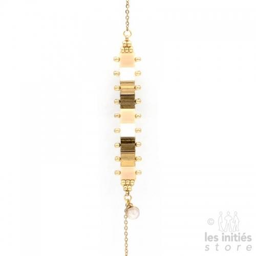 Bracelet Les Initiés perles miyuki articulées - Vieil or doré nacré