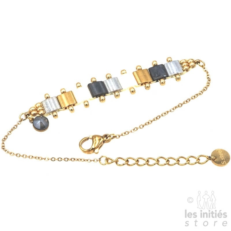 Les Initiés articulated miyuki beads bracelet - Pearly gold grey