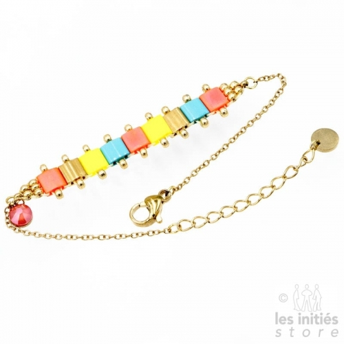 Les Initiés articulated miyuki beads bracelet - Pink gold yellow blue
