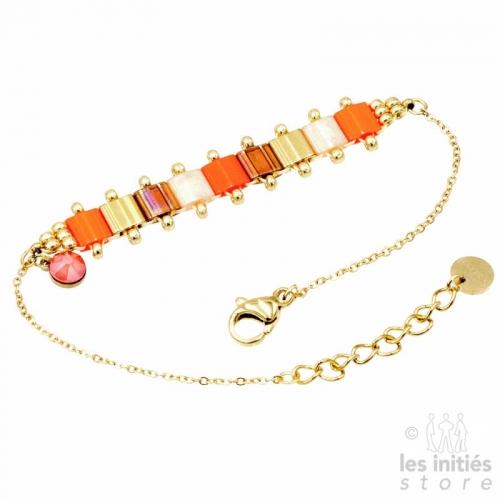 Bracelet Les Initiés perles miyuki articulées - Orange doré cuivré rose