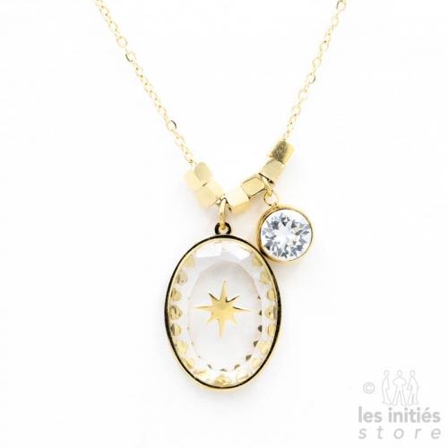 Collier Les Initiés étoile cristal Swarovski blanc - doré