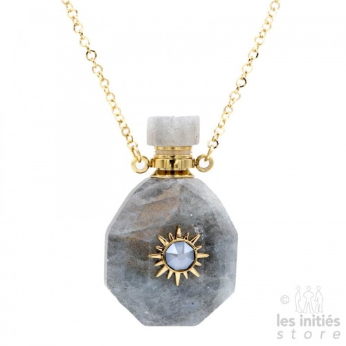Les Initiés necklace natural stone vial and Swarovski crystal - Serpentine Jade