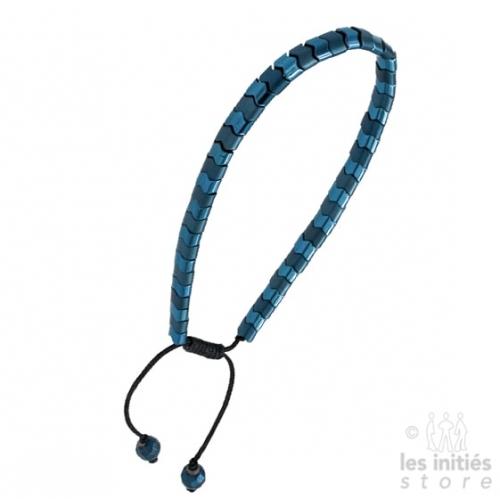 Bracelet Les Initiés chaîne perles imbriquées bleu acier