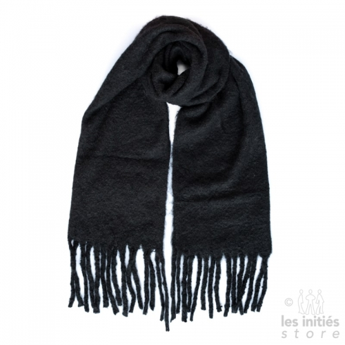 Large thick plain scarf - Black