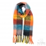 Large thick check scarf - orange - yellow - green - blue
