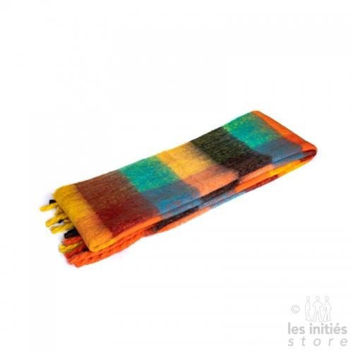 Grande écharpe épaisse carreaux - orange - jaune - vert - bleu