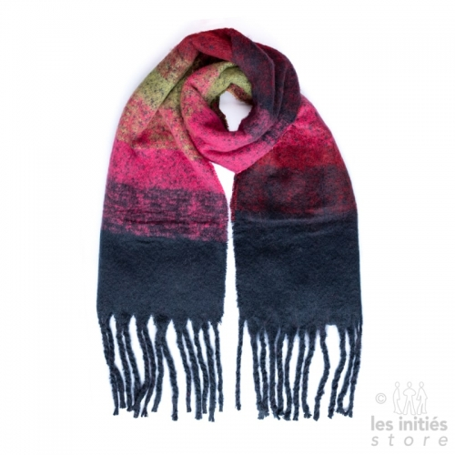 Large thick scarf in gradient color - khaki - fuchsia - navy