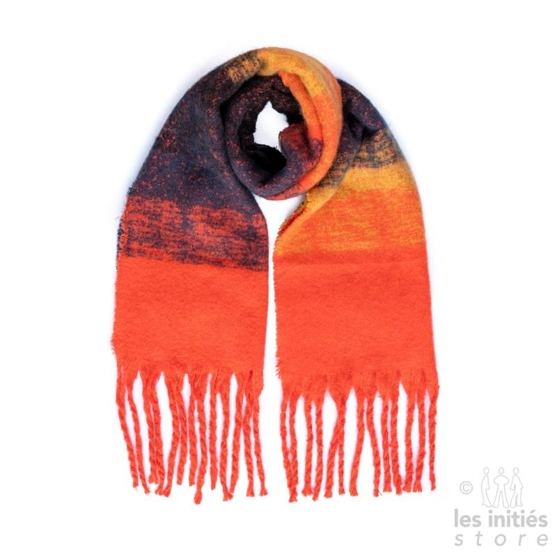 Grande écharpe épaisse couleur degradée - noir - ocre - orange