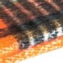 Grande écharpe épaisse carreaux écossais - orange