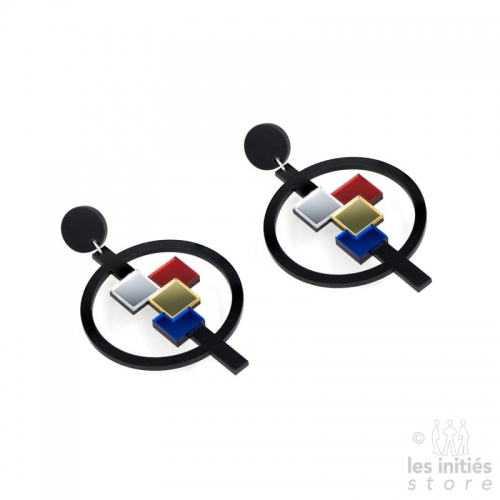 Geometric round earrings - black and colored