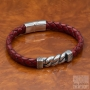 Men's bracelet steel chain braided leather - Cognac