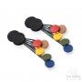 Boucles d'oreilles pastilles géométriques caoutchouc noir et multicolor