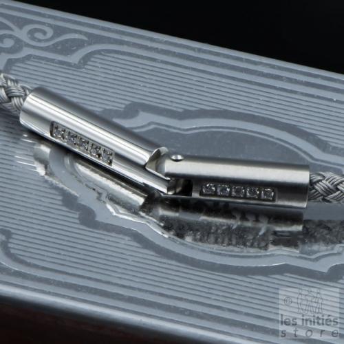 Bracelet câble gris tressé diamants - Acier
