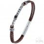 Bracelet style ancien double cuir tressé marron - Acier