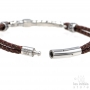 Antique style bracelet double brown braided leather - Steel