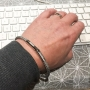 Grey cable bracelet braided diamonds - Steel