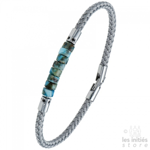 Turquoise stone braided cable bracelet - Steel