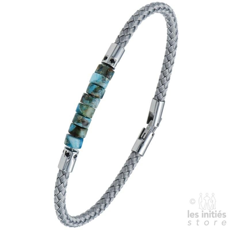 Bracelet câble tressé pierre turquoise - Acier