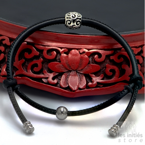 Double turn leather bracelet with openworked ball - steel