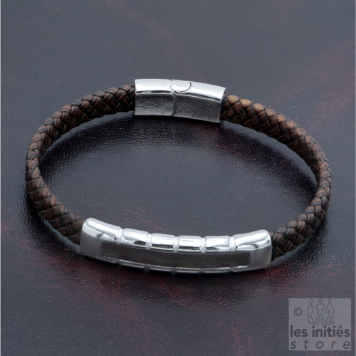 Brown steel inlaid braided leather bracelet