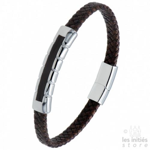 Bracelet cuir tressé incrusté acier marron