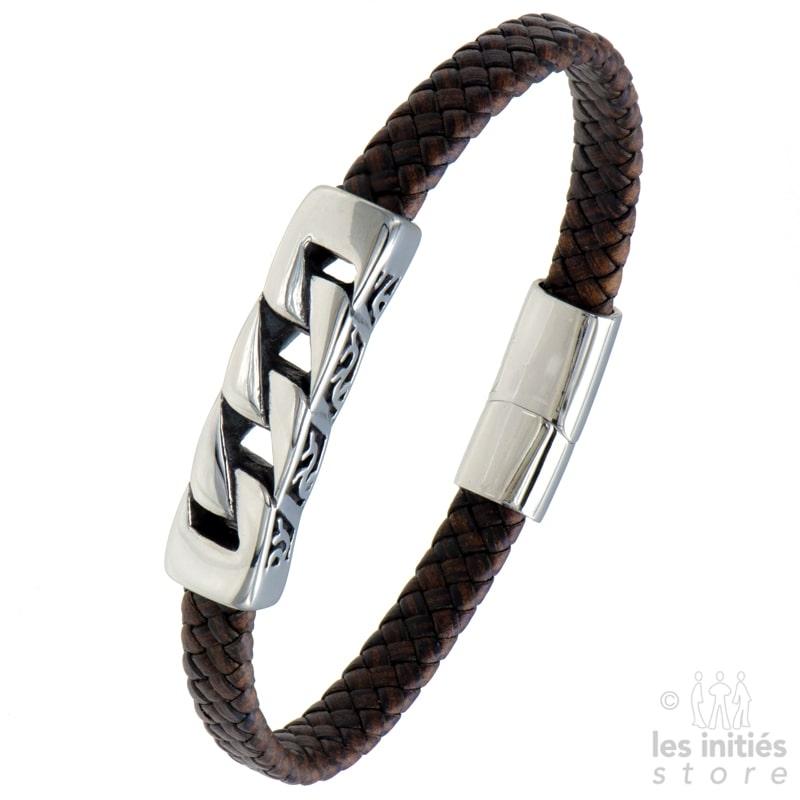 Bracelet cuir tresse marron acier stylisé gravé