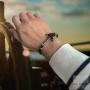 Bracelet double cuir noir ancre - Acier
