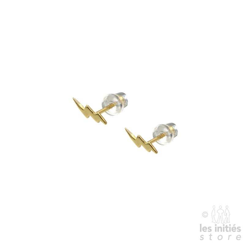 Petites boucles d'oreilles double éclair Les Initiés - Argent 925 plaqué or