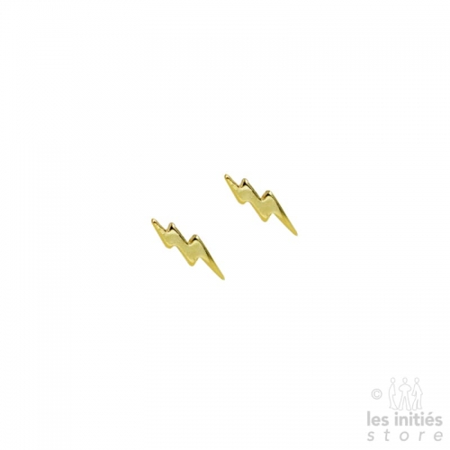 Les Initiés small double flash earrings - 925 sterling silver gold plated