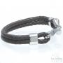 Bracelet double tressé crochet cuir marron - acier