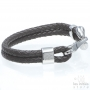 Double braided brown leather hook bracelet - Steel