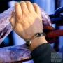 Bracelet double tressé crochet cuir noir - acier