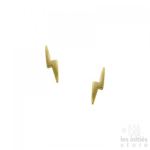 Petites boucles d'oreilles éclair Les Initiés - Argent 925 plaqué or