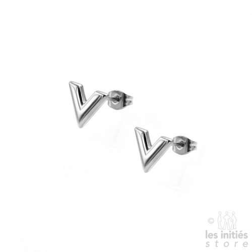 "Small ""V"" Earrings - Silver"