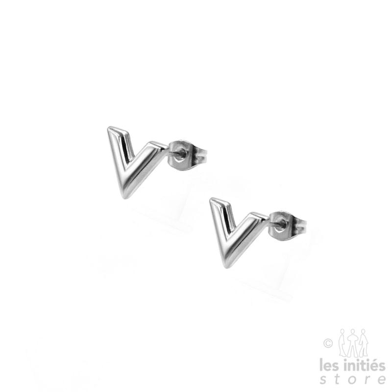 """Petites boucles d'oreilles """"V"""" argent"""