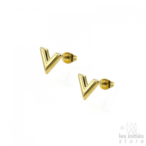 "Small ""V"" Earrings - Gold plated"