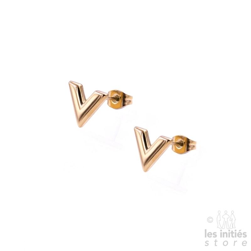 """Petites boucles d'oreilles """"V"""" doré-rosé"""