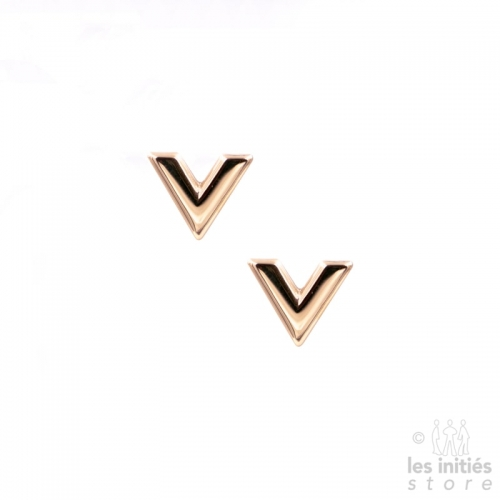 "Small ""V"" Earrings - Rose gold"