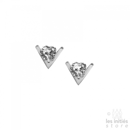 V heart rhinestones earrings
