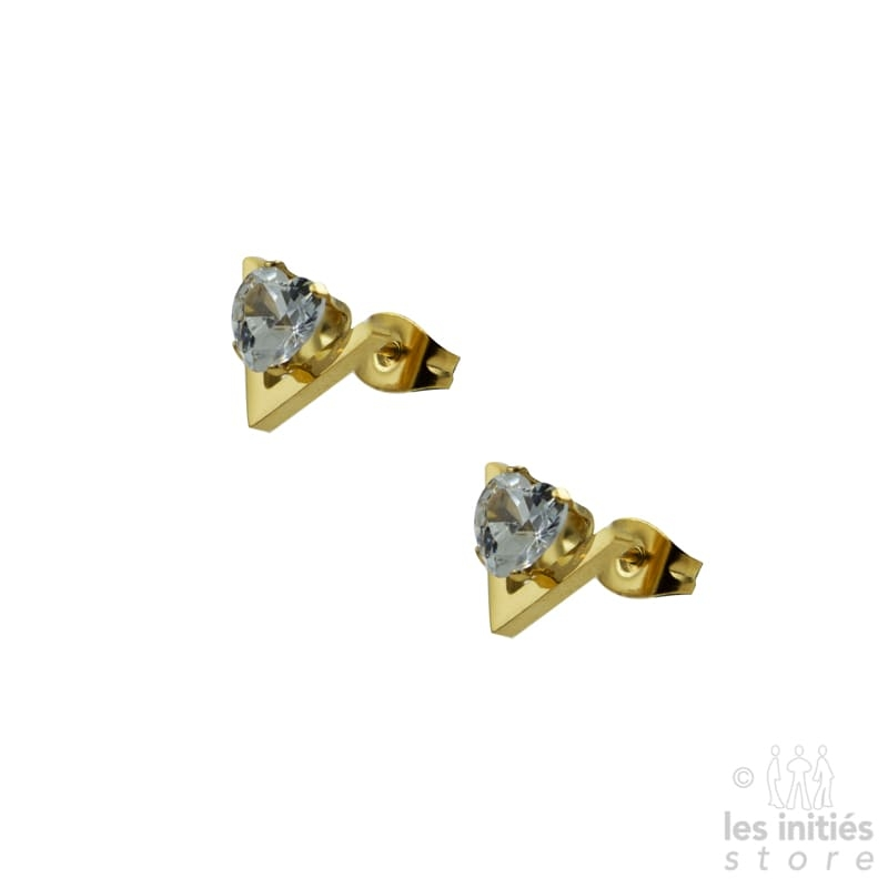 heart thinestone shape earrings gold