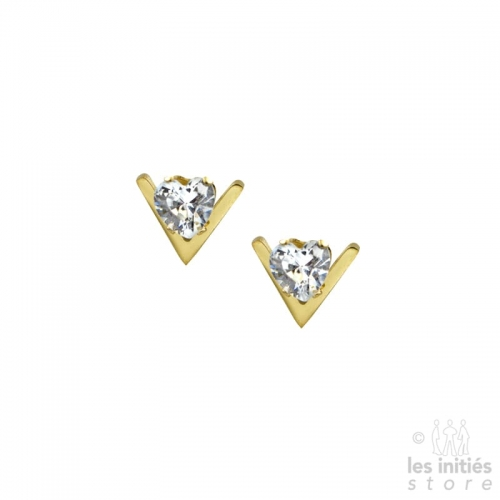 Small «V» heart rhinestones earrings gold-plated