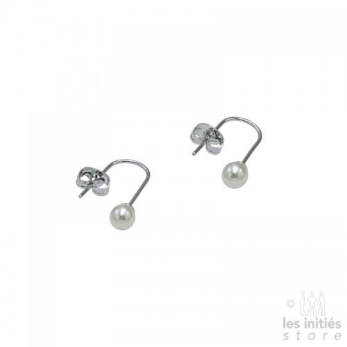 Petites boucles d'oreilles pendantes perles argent 925