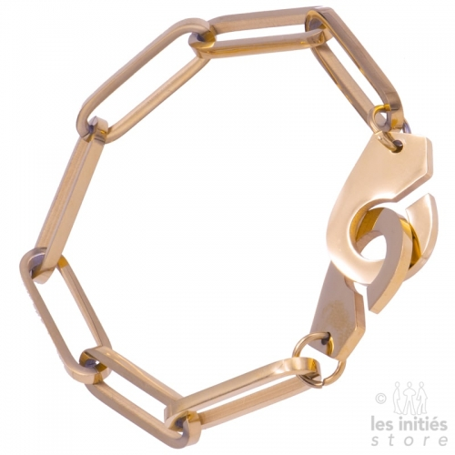 Bracelet gros maillons menottes doré rosé