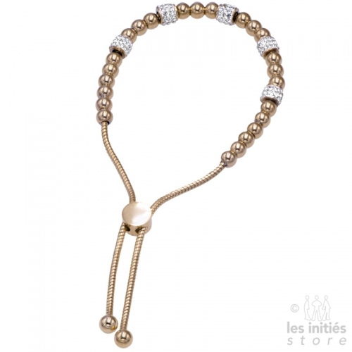 Bracelet perles strass doré rosé