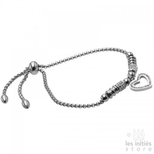 Rhinestone heart beads bracelet silver