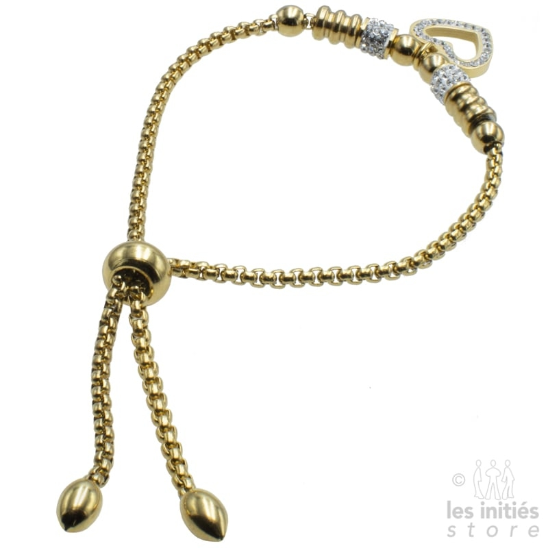 Bracelet perles strass coeur plaqué or