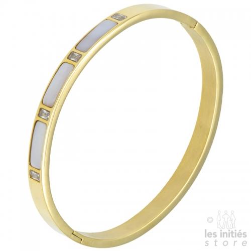 Bracelet rigide nacré strass doré
