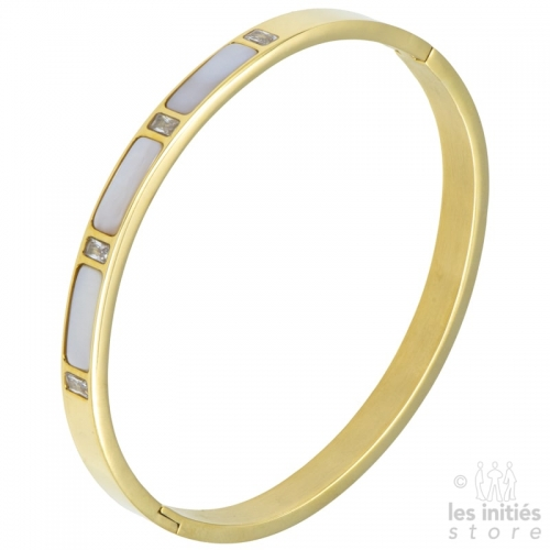 mother-of-pearl gold bangle