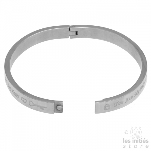 You are my only love rigid bangle silver