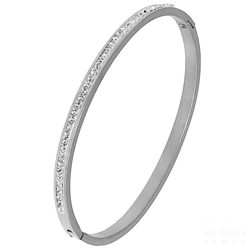 Row of rhinestones rigid bangle silver